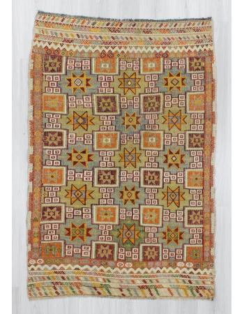Handwoven vintage decorative star designed embroidered Turkish kilim rug