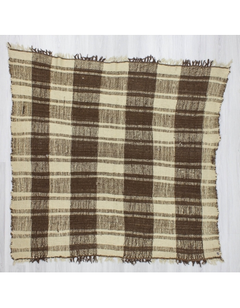 Handwoven vintage decorative modern brown and white naturel Turkish kilim rug