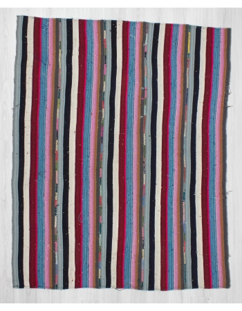 Handwoven vintage decorative colorful striped Turkish kilim rug