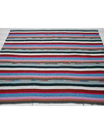 Handwoven vintage decorative colorful striped Turkish kilim rug