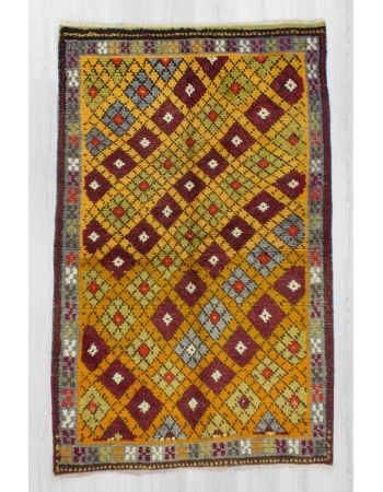 Handknotted vintage decorative colorful Turkish rug