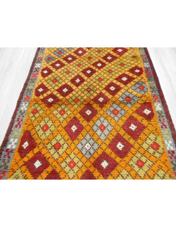 Handknotted vintage decorative colorful Turkish rug