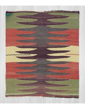 Handwoven vintage decorative modern small Turkish kilim rug