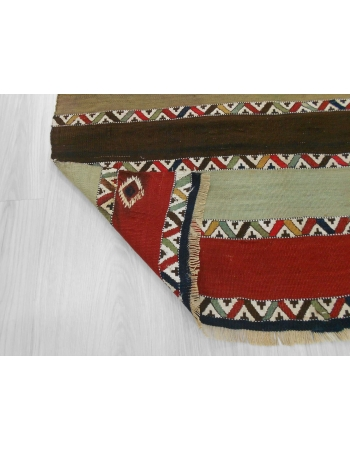 Handwoven vintage decorative striped small naturel dyed Turkish kilim rug