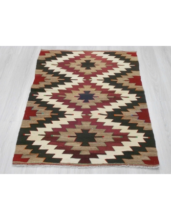 Handwoven vintage decorative Turkish kilim rug