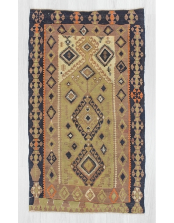 Handwoven vintage decorative antique Turkish kilim prayer rug