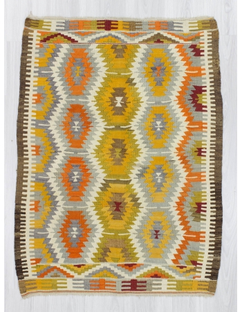 Handwoven vintage decorative colorful Turkish kilim rug