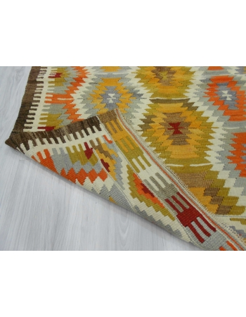 Handwoven vintage decorative colorful Turkish kilim rug