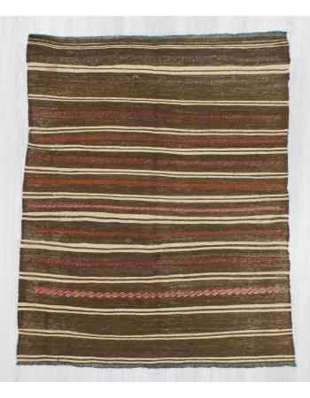 Handwoven vintage decorative striped small Turkish kilim rug