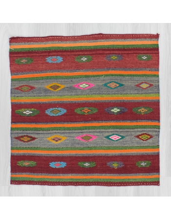 Handwoven vintage decorative colorful embroidered small Turkish kilim rug