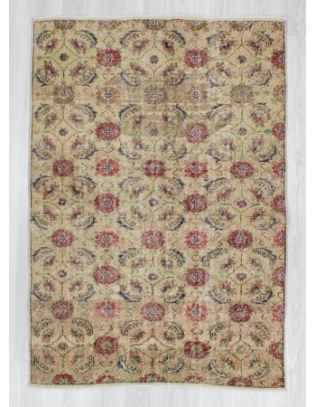 Hand-knotted vintage decorative floral designed Turkish art deco rug