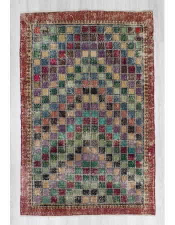 Hand-knotted vintage colorful decorative Turkish art deco rug