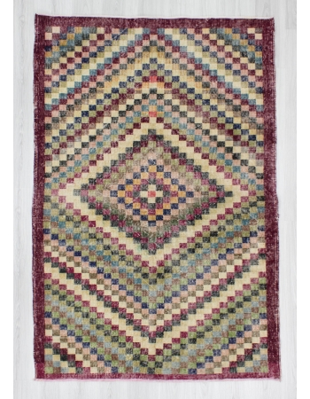 Hand-knotted vintage decorative colorful Turkish art deco rug