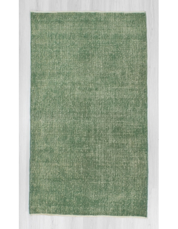 Vintage hand-knotted decorative green Turkish area rug