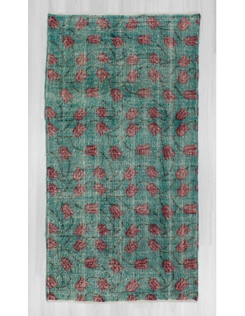 Vintage Hand-knotted Tulip Designed Turkish Art Deco Rug