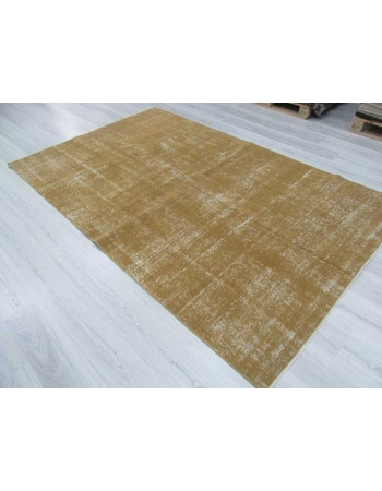 Hand-knotted vintage decorative yellow Turkish area rug