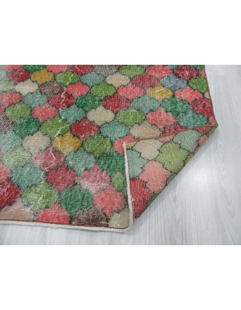 Vintage hand-knotted decorative colorful Turkish art deco rug