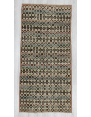 Vintage hand-knotted decorative pastel coloured Turkish art deco rug