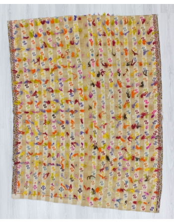 Vintage handwoven decorative modern Turkish kilim rug with colorful Mohair