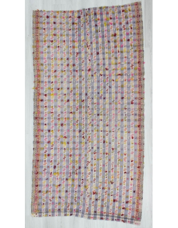 Vintage handwoven decorative filikli Turkish kilim rug with colorful mohair
