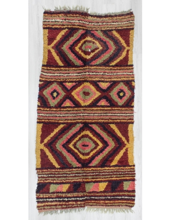 Vintage decorative Turkish tulu area rug