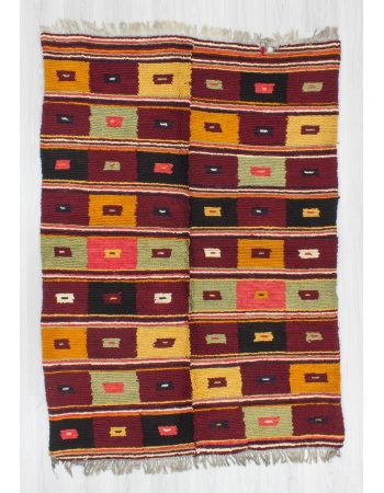 Vintage decorative colorful Turkish tulu rug