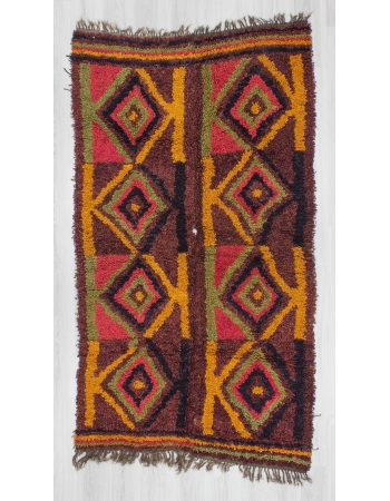Vintage decorative Turkish tulu rug