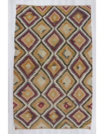 Vintage Handwoven decorative colorful large Turkish kilim area rug