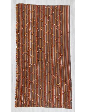 Handwoven vintage decorative striped Turkish area kilim rug with colorful angora hair