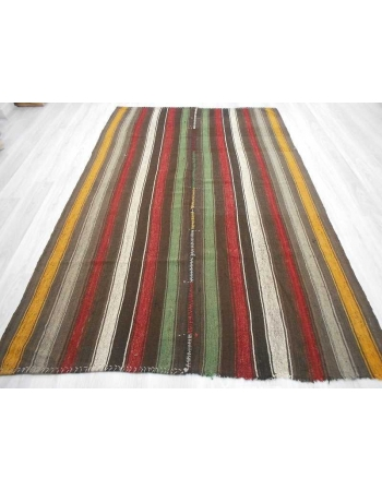 Handwoven vintage colorful striped decorative modern Turkish kilim rug