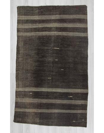 Handwoven vintage gray striped black modern decorative Turkish kilim rug