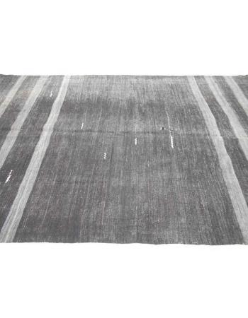 Handwoven vintage gray striped black modern decorative Turkish kilim rug