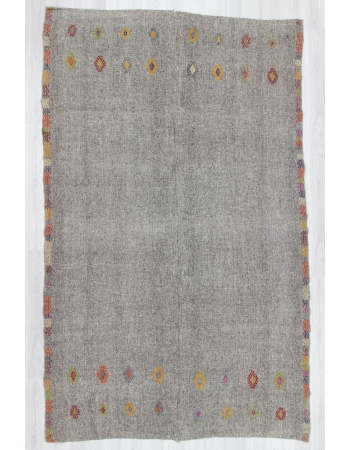 Vintage handwoven decorative embroidered grey oversize Turkish kilim area rug