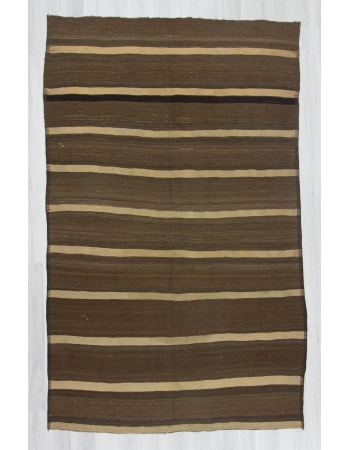 Handwoven vintage naturel white striped brown Turkish area kilim rug