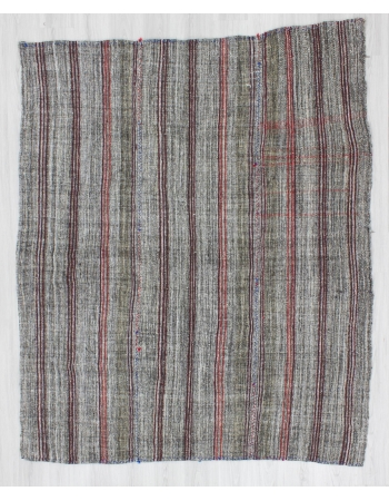 Vintage handwoven striped decorative gray Turkish kilim rug