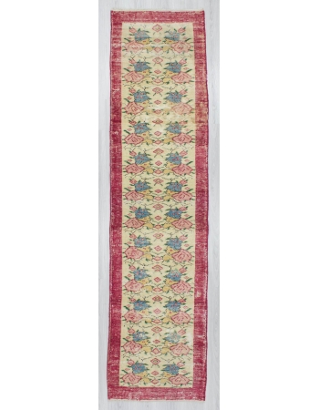 Vintage hand-knotted decorative floral designed Turkish area runner rug