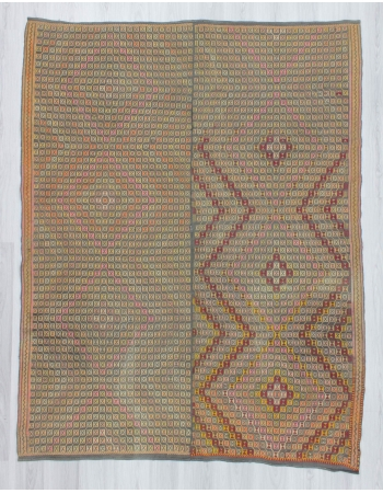 Vintage handwoven decorative embroidered Turkish kilim rug
