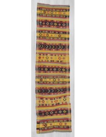 Handwoven vintage decorative striped embroidered Turkish kilim runner rug