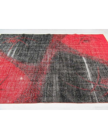 Vintage hand-knotted modern decorative black and red Turkish art deco rug
