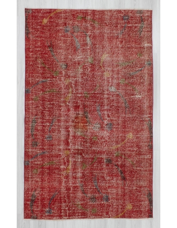 Vintage hand-knotted decorative red Turkish art deco rug