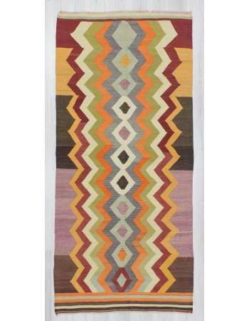 Handwoven decorative vintage modern unique designed Turkish kilim rug
