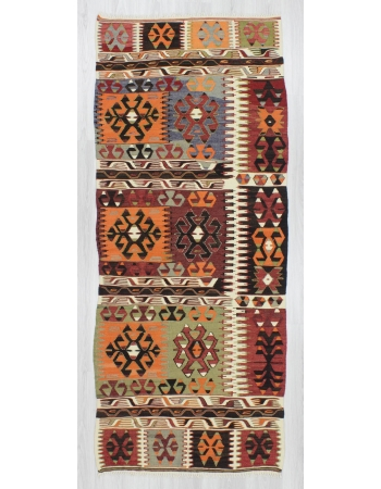 Handwoven vintage colorful decorative Turkish kilim runner rug