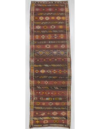 Vintage handwoven decorative striped embroidered Turkish kilim runner rug