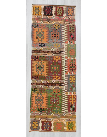 Handwoven vintage decorative colorful Turkish kilim runner rug