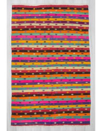 Handwoven vintage vibrant colorful striped embroidered Turkish kilim rug