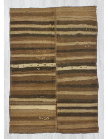 Handwoven vintage decorative modern natural striped Turkish kilim rug