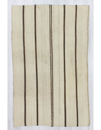 Handwoven vintage modern decorative striped Turkish kilim rug