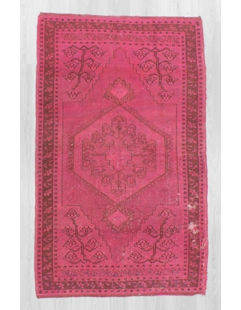 Vintage hand-knotted decorative modern fushia overdyed Turkish area rug