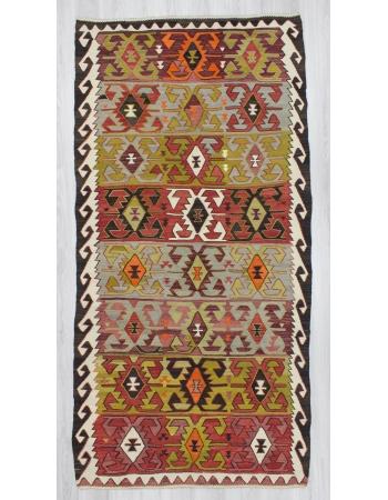 Vintage handwoven colorful Turkish Konya area kilim rug