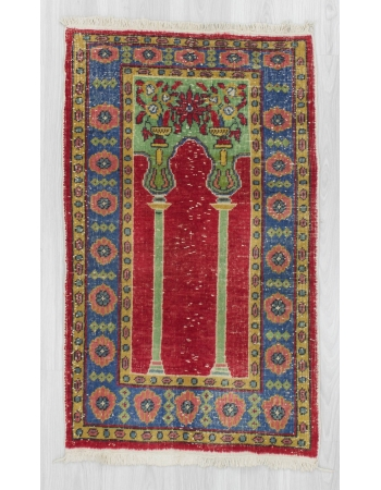 Vintage handknotted decorative Turkish prayer rug